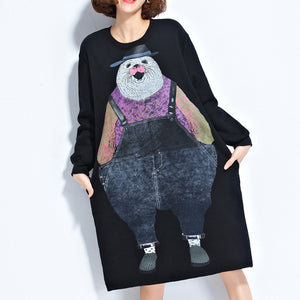 autumn new navy cartoon print cotton dresses baggy loose cute casual dress