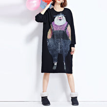 Load image into Gallery viewer, autumn new navy cartoon print cotton dresses baggy loose cute casual dress