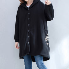 Load image into Gallery viewer, autumn new prints black casual coats oversize hooded back side open cardigans clothes