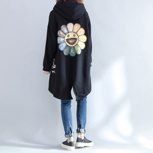 autumn new prints black casual coats oversize hooded back side open cardigans clothes