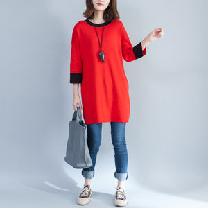 autumn new red casual cotton knit tops plus size o neck pullover