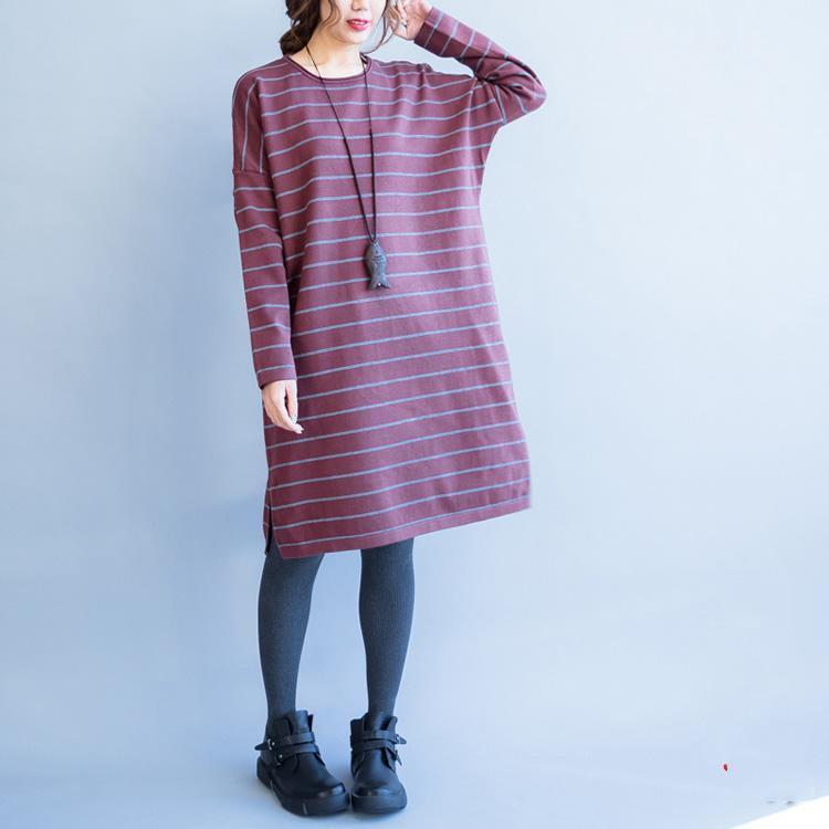 autumn new red striped woolen blended sweater dresses loose casual o neck knit sweater dress
