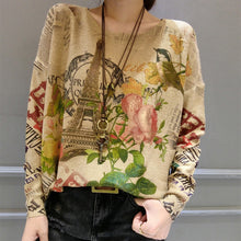 Load image into Gallery viewer, autumn plus size fashion bird prints sweater tops casual o neck women knit pullover