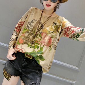 autumn plus size fashion bird prints sweater tops casual o neck women knit pullover
