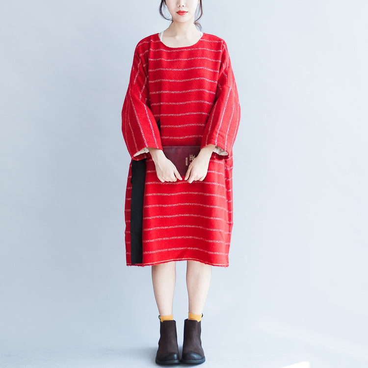 autumn plus size red striped cotton dresses tie waist long sleeve woolen casual dress