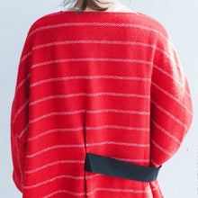 Load image into Gallery viewer, autumn plus size red striped cotton dresses tie waist long sleeve woolen casual dress