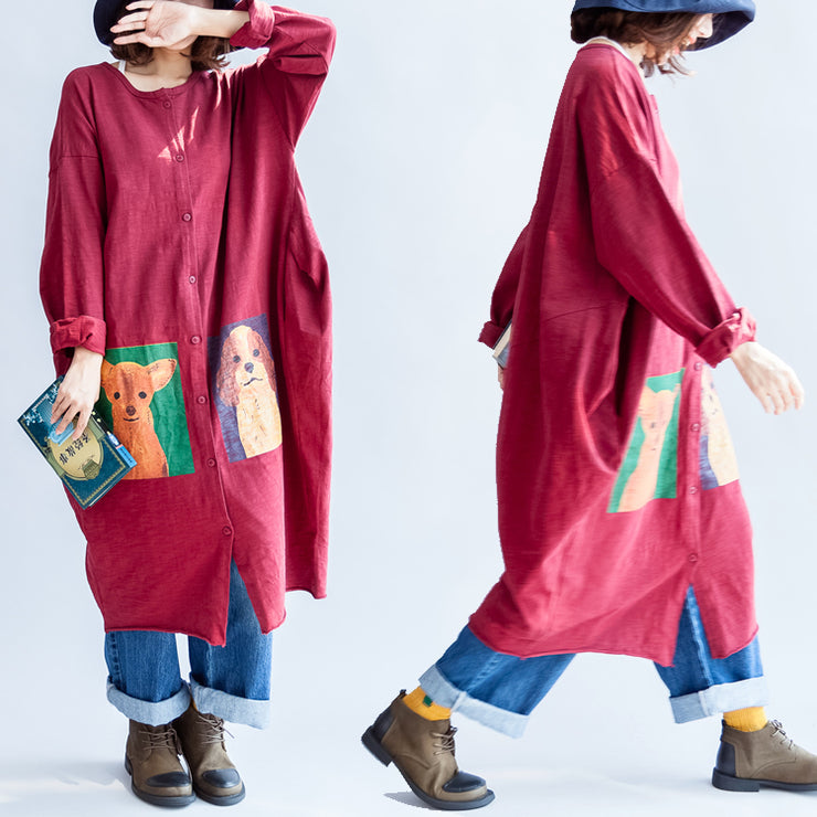 autumn red casual cotton coats oversize o neck long sleeve cardigans