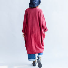Load image into Gallery viewer, autumn red casual cotton coats oversize o neck long sleeve cardigans