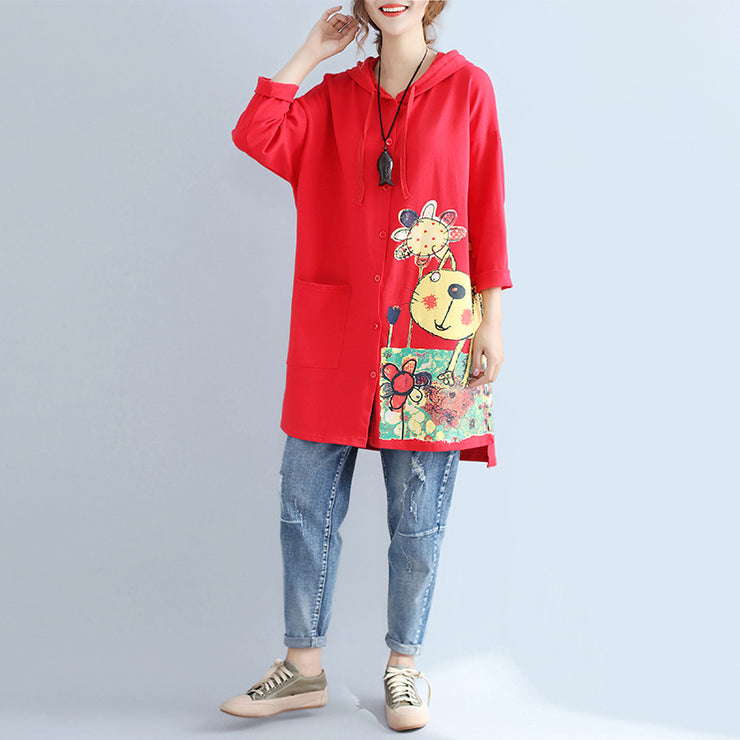 autumn red new hooded cotton coats plus size print big pocket cardigans outwear