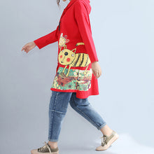 Load image into Gallery viewer, autumn red new hooded cotton coats plus size print big pocket cardigans outwear