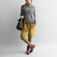 Load image into Gallery viewer, autumn thick gray woolen cable knit sweaters chunky oversize casual warm  knit tops