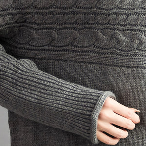 autumn thick gray woolen cable knit sweaters chunky oversize casual warm  knit tops