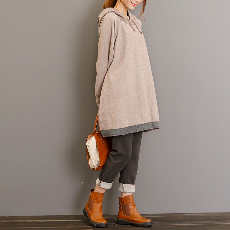 autumn thick light gray cotton blouse oversize long sleeve hooded pullover