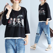autumn thick prints cotton pullover oversize long sleeve tops