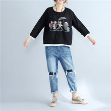 Load image into Gallery viewer, autumn thick prints cotton pullover oversize long sleeve tops