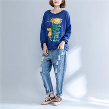 Load image into Gallery viewer, autumn thick warm cotton tops oversize o neck prints pullover