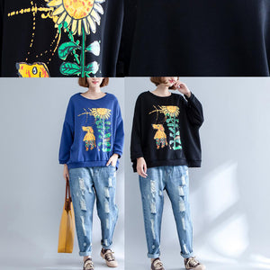 autumn thick warm cotton tops oversize o neck prints pullover