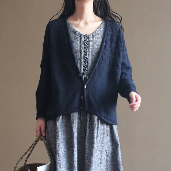 autumn v neck vintage cotton knit cardigans plus size casual navy sweater tops
