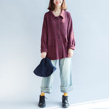 Load image into Gallery viewer, autumn warm burgundy vintage cotton short coats plus size batwing sleeve jackets