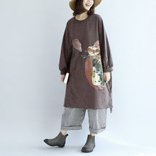Load image into Gallery viewer, autumn warm khaki cartoon print cotton dresses plus size lantern sleeve pullover dress