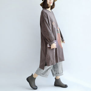 autumn warm khaki cartoon print cotton dresses plus size lantern sleeve pullover dress