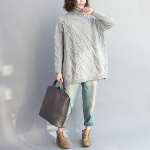 autumn warm light gray cotton sweater plus size cozy batwing knit tops