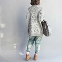 Load image into Gallery viewer, autumn warm light gray cotton sweater plus size cozy batwing knit tops