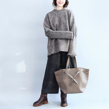 autumn warm stylish cotton knitted pullover  back side open oversize cozy o neck sweater