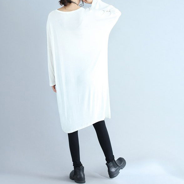 fbb48f2997ee ... Load image into Gallery viewer, autumn white casual cotton t shirt  dresses oversize long sleeve ...