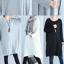 autumn white casual cotton t shirt dresses oversize long sleeve shift dress