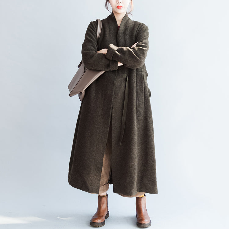autumn winter blackish green fashion woolen cardigans plus size tie waist women trench coats