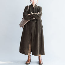 Load image into Gallery viewer, autumn winter blackish green fashion woolen cardigans plus size tie waist women trench coats
