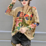 autumn winter new butterfly prints cotton knit t shirt oversize women o neck sweater