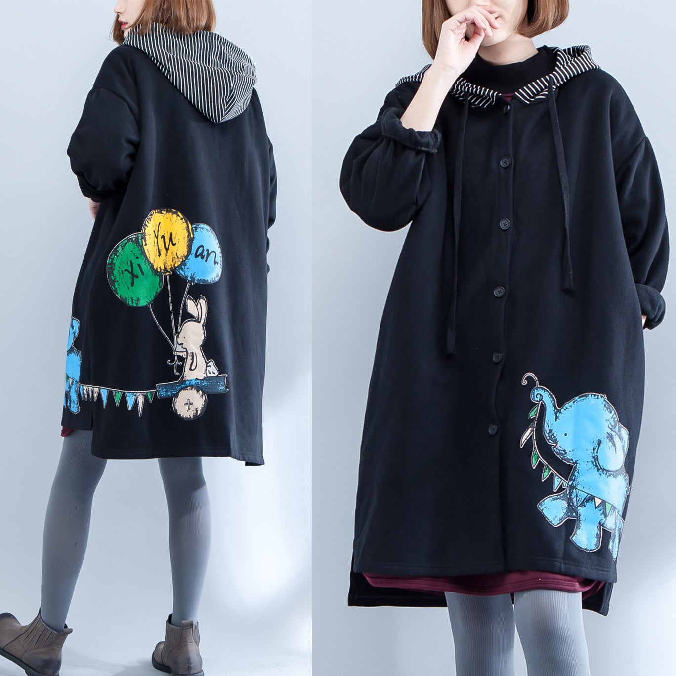 autumn winter new thick cotton coats plus size casual hooded pritns cardigans coat