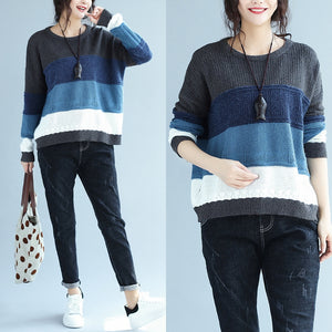 autumn winter patchwork woolen knit tops plus size casual blue gray striped sweater