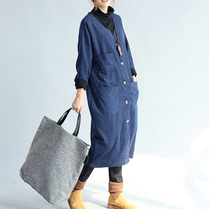 autumn winter warm navy cotton trench coats woolen loose pockets v neck cardigans