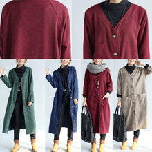 Load image into Gallery viewer, autumn winter warm navy cotton trench coats woolen loose pockets v neck cardigans