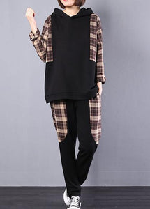 autumn women black patchwork khaki plaid hooded tops and casual pants two pieces