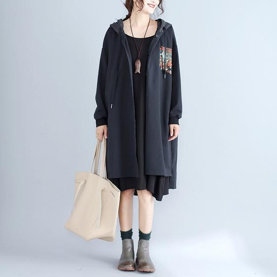 autumn women prints black cotton cardigan oversize fashion slim fit hooded trench coat