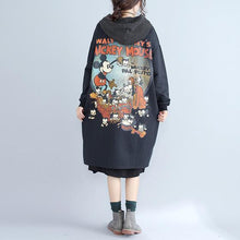 Load image into Gallery viewer, autumn women prints black cotton cardigan oversize fashion slim fit hooded trench coat