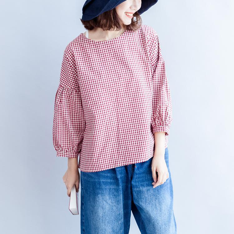 back button cotton t shirt oversize casual red white grid long sleeve tops