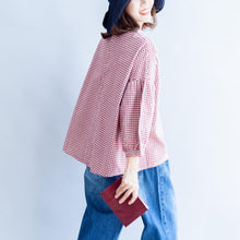 Load image into Gallery viewer, back button cotton t shirt oversize casual red white grid long sleeve tops