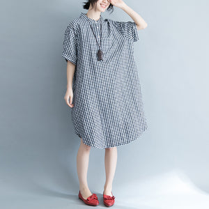 baggy Plaid natural cotton dress trendy plus size cotton clothing dresses  Elegant short sleeve Stand cotton clothing