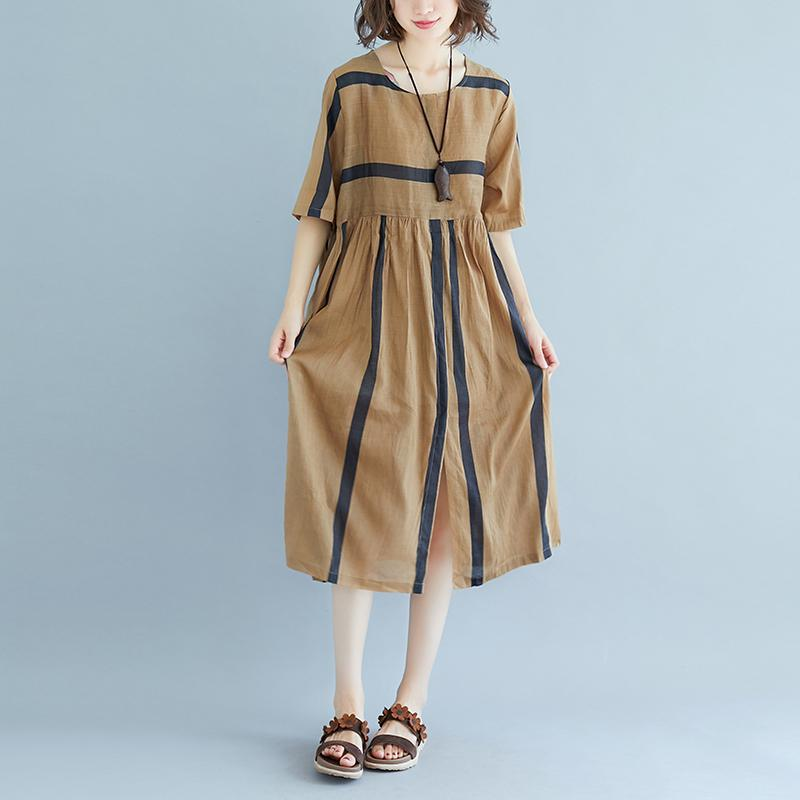 baggy Tencel linen summer dress plus size Short Sleeve Round Neck Pockets Stripe Pleated Slit Dress