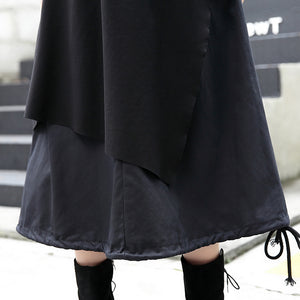 baggy black Midi-length skirt oversize traveling clothing patchwork vintage asymmetrical design autumn skirt