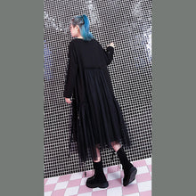 Load image into Gallery viewer, baggy black casual fall dresses patchwork tulle asymmetrical design women O neck Rivet knee dresses