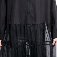 Load image into Gallery viewer, baggy black cotton dress casual patchwork tulle clothing dresses New lapel collar kaftans