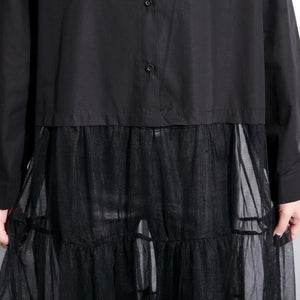 baggy black cotton dress casual patchwork tulle clothing dresses New lapel collar kaftans