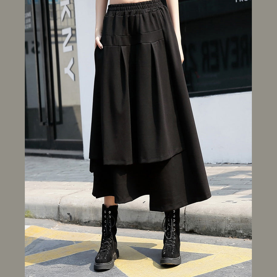baggy black cotton shift skirt plus size holiday skirt elastic waist baggy New asymmetrical design autumn skirt