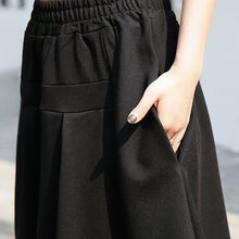Load image into Gallery viewer, baggy black cotton shift skirt plus size holiday skirt elastic waist baggy New asymmetrical design autumn skirt